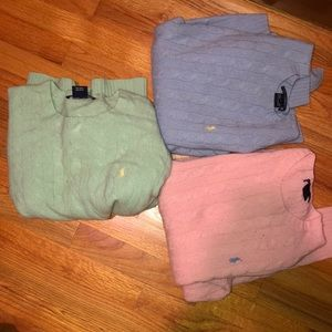 3 used Ralph Lauren polos (long sleeve) cable knit